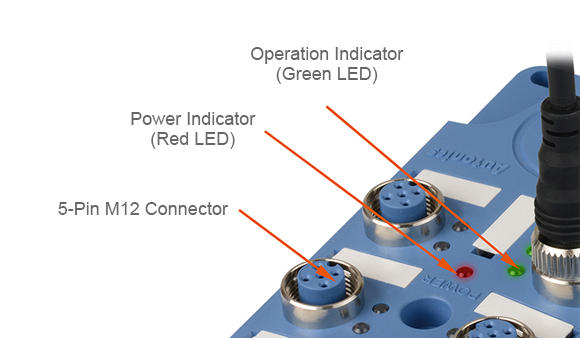 Operation Indicator (Green LED), Power Indicator (Red LED), 5-Pin M12 Connector
